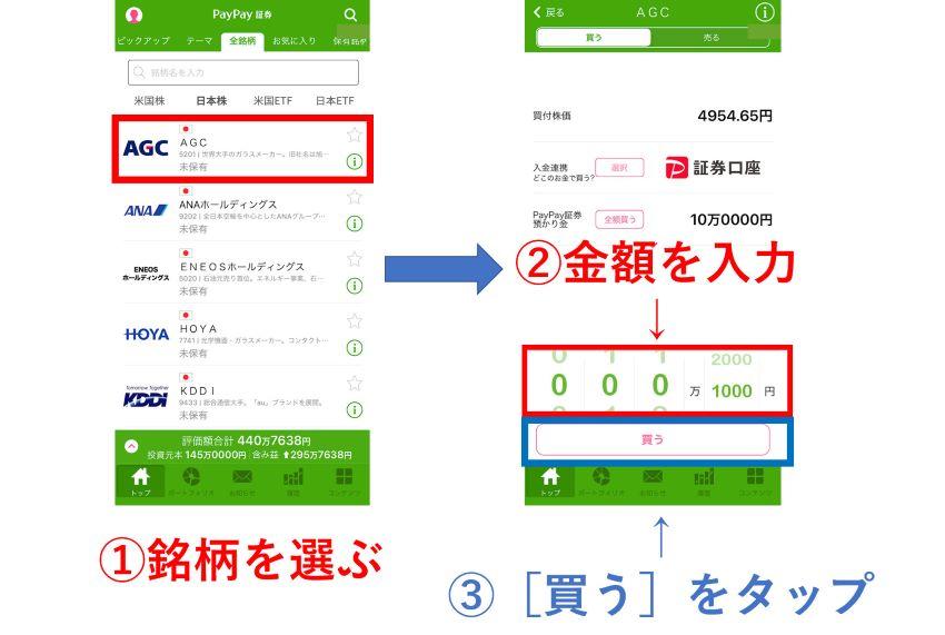 PayPay証券 注文画面